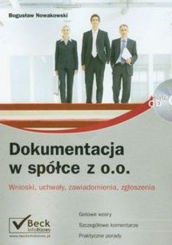 Okładka książki Dokumentacja w spółce z o.o. + płyta CD