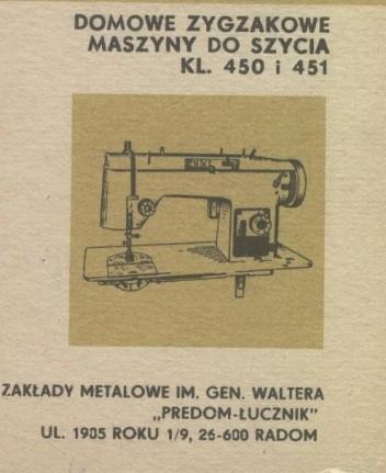 Okładka książki Domowe zygzakowe maszyny do szycia kl. 450 i 451