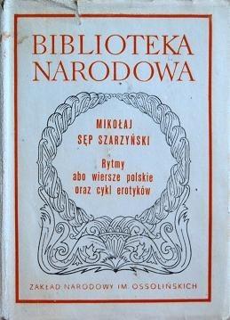 Okładka książki Rytmy abo wiersze polskie oraz cykl erotyków