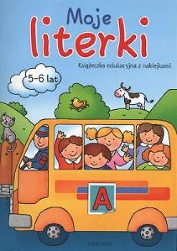 Okładka książki Moje literki 5-6 lat książa edukacyjna z naklejklami