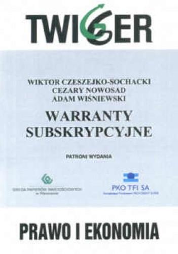 Okładka książki Warranty subskrypcyjne