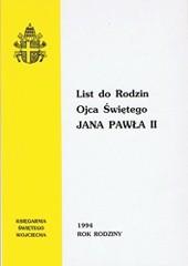 Okładka książki List do Rodzin Ojca Świętego Jana Pawła II