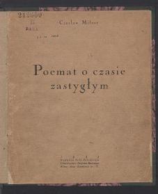 Okładka książki Poemat o czasie zastygłym