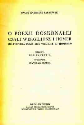 Okładka książki O poezji doskonałej, czyli Wergiliusz i Homer