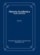 Okładka książki Historia Academica. Studia i Materiały. Zeszyt I/2010