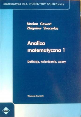Okładka książki Analiza matematyczna 1, Definicje, twierdzenia, wzory