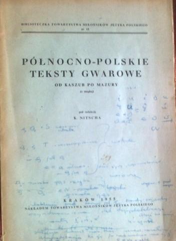Okładka książki Północno-polskie teksty gwarowe od Kaszub po Mazury