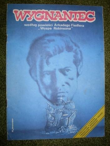 """Okładka książki Wygnaniec - według powieści Arkadego Fiedlera """"Wyspa Robinsona"""""""