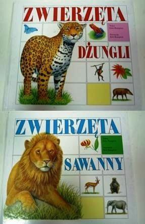 Okładka książki Zwierzęta dżungli.  Zwierzęta sawanny