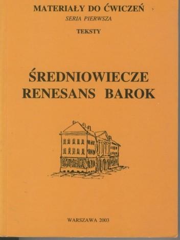 Okładka książki Średniowiecze, renesans, barok