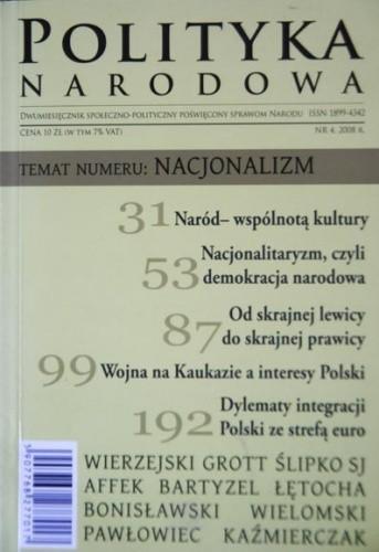 Okładka książki Polityka Narodowa 4/2008