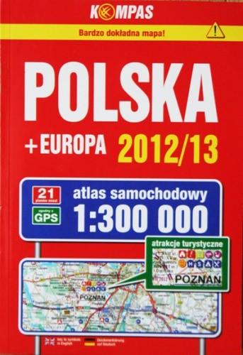 Okładka książki Polska + Europa 2012/13 - atlas samochodowy 1:300000