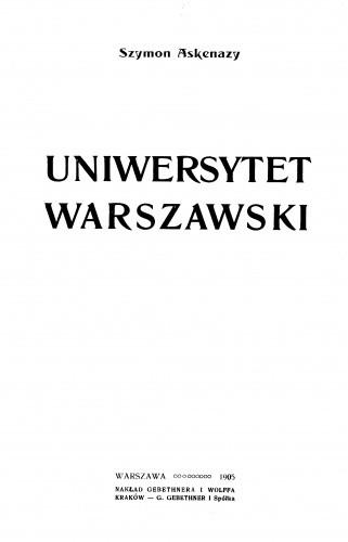 Okładka książki Uniwersytet Warszawski