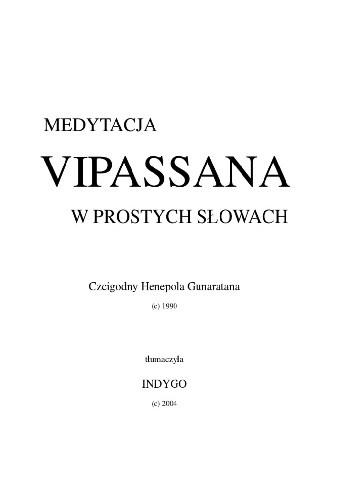 Okładka książki Medytacja Vipassana w prostych słowach