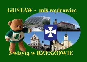 Okładka książki Gustaw - miś wędrowiec z wizytą w Rzeszowie
