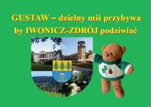 Okładka książki Gustaw - dzielny miś przybywa by Iwonicz-Zdrój podziwiać