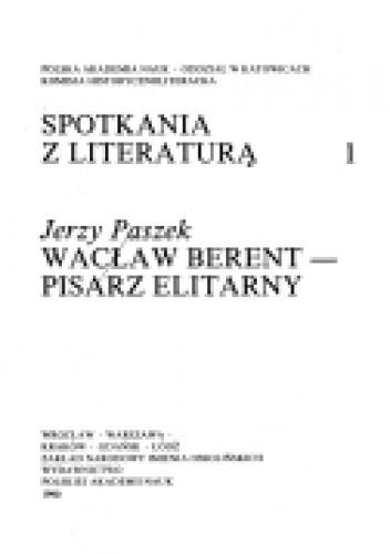 Okładka książki Wacław Berent – pisarz elitarny