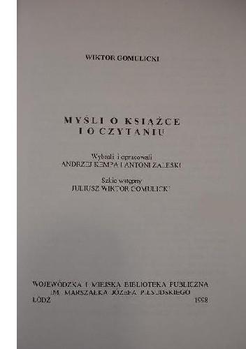Okładka książki Myśli o książce i o czytaniu