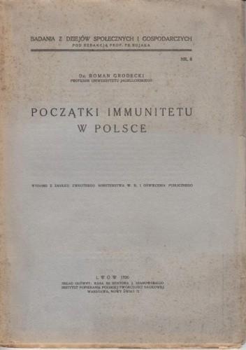 Okładka książki Początki immunitetu w Polsce