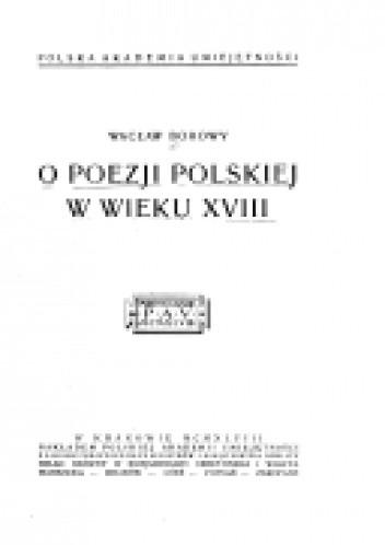 Okładka książki O poezji polskiej w wieku XVIII