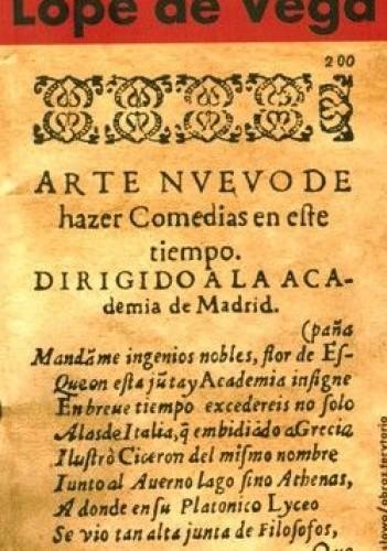 Okładka książki Nowa sztuka pisania komedii w dzisiejszych czasach. Przedstawiona Akademii w Madrycie