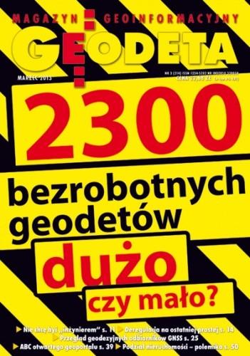 Okładka książki Geodeta. Magazyn geoinformacyjny, nr 3 (214) / 2013