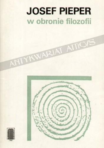 Okładka książki W obronie filozofii