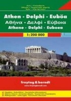 Ateny, Delfy, Eubea. Mapa samochodowa