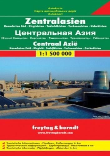 Okładka książki Azja Środkowa (Kazachstan Pd, Kirgistan, Tadżykistan, Turkmenistan, Uzbekistan). Mapa Freytag & Berndt 1:1 500 000