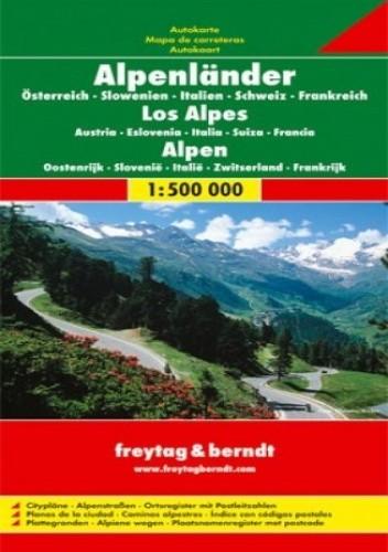 Okładka książki Alpy - Austria, Słowenia, Włochy, Szwajcaria, Francja. Mapa Freytag & Berndt 1:500 000