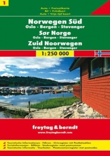 Okładka książki Norwegia Południowa (cz.1). Mapa Freytag & Berndt 1:250 000