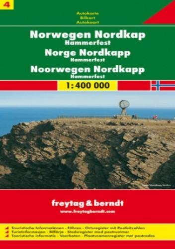 Okładka książki Norwegia cz. 4 Nordkapp Hammerfeld. Mapa samochodowa