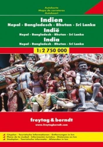 Okładka książki Indie Nepal Bangladesz Bhutan Sri Lanka. Mapa