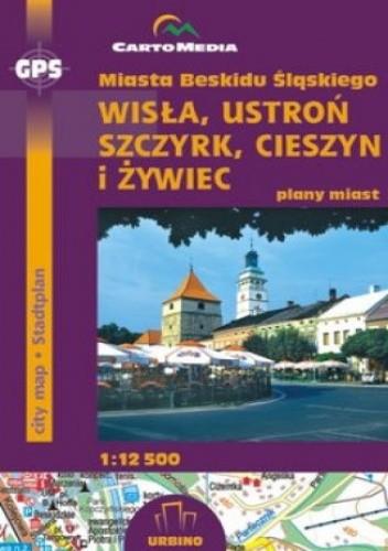 Okładka książki Miasta Beskidu Śląskiego (Wisła, Ustroń, Szczyrk, Cieszyn, Żywiec). Mapa CartoMedia 1:12 500
