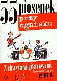 Okładka książki 55 piosenek przy ognisku z chwytami gitarowymi i na instrumenty klawiszowe