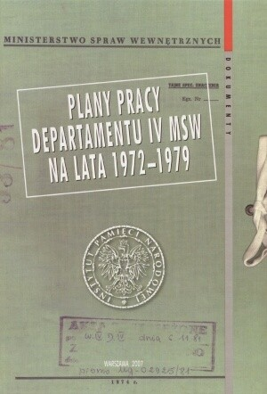 Okładka książki Plan pracy Departamentu IV MSW na lata 1972-1979