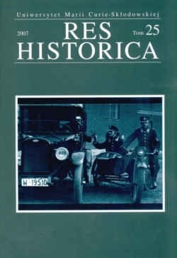 Okładka książki Res Historica Tom 25