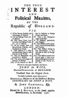 The True Interest and Political Maxims of the Republic of Holland