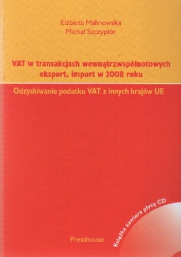 Okładka książki VAT w transakcjach wewnątrzwspól.eksport,import 2008