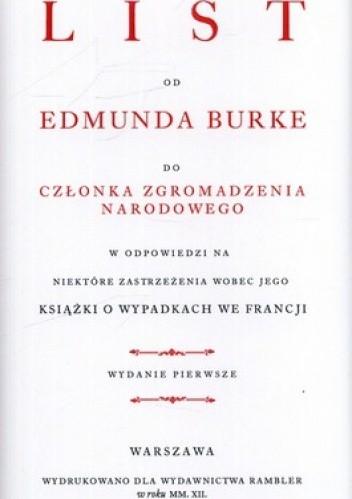 Okładka książki List do członka Zgromadzenia Narodowego w odpowiedzi na niektóre obiekcje wobec jego książki o wypadkach we Francji