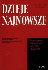 Okładka książki Dzieje najnowsze 1 - 2003