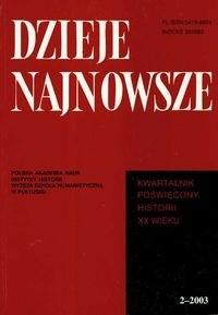 Okładka książki Dzieje najnowsze 2 - 2003