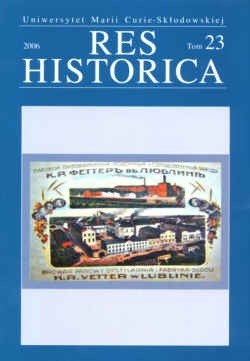 Okładka książki Res historica. Tom 23