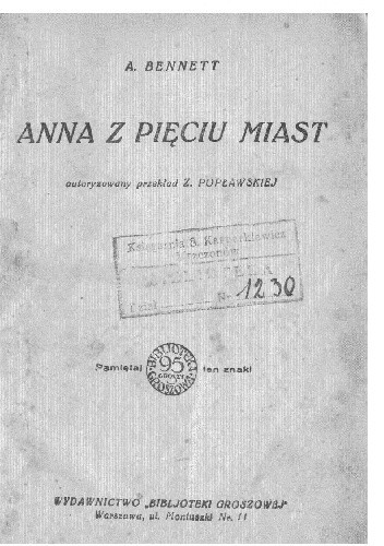 Okładka książki Anna z pięciu miast