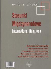Okładka książki Stosunki Międzynarodowe International Relations 1-2 2008