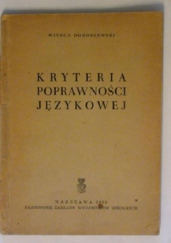 Okładka książki Kryteria poprawności językowej