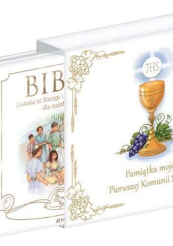 Okładka książki Pamiątka mojej Pierwszej Komunii Świętej + Biblia. Historie ze Starego i Nowego Testamentu dla najmłodszych (komplet)