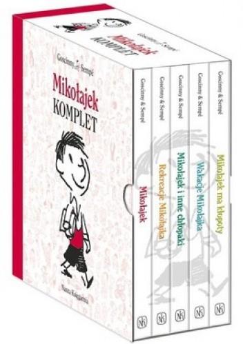 Okładka książki Mikołajek + Rekreacje Mikołajka + Mikołajek i inne chłopaki + Wakacje Mikołajka + Mikołajek ma kłopoty (komplet)