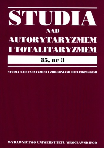 Okładka książki Studia nad autorytaryzmem i totalitaryzmem 35, nr.3