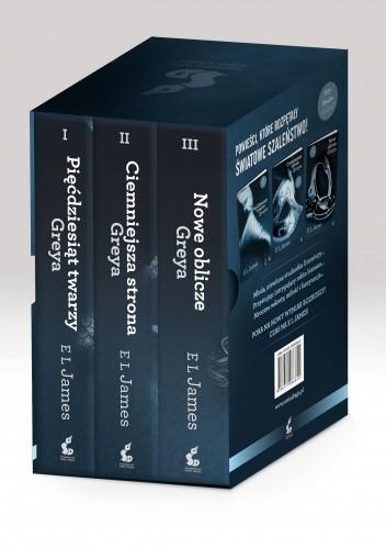 Okładka książki Pięćdziesiąt twarzy Greya + Ciemniejsza strona Greya + Nowe oblicze Greya (komplet)